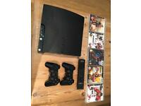 PlayStation 3, PS3 Slim, Wi-fi enabled, access Netflix, SKYNowTV, 2 controllers, 1 remote, +5 games