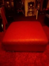 Red leather sofa/poffy stool