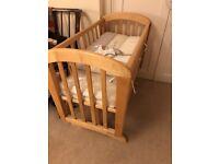 Natural wooden John Lewis Anna Glider Crib and mattress - great condition