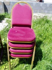 4 x Dining Chairs, red cushion and back, metal like frame, bargain, offers welcome