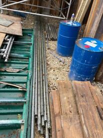 Used scaffold boards and tubes