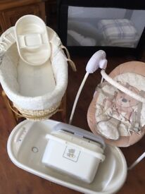 Baby basket, swing seat, bath and top n tail. Matching set m. Teddy toy box mother care range
