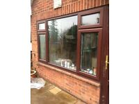 DOUBLE GLAZED LARGE MAHOGANY BROWN WOOD GRAIN EFFECT PVC WINDOWS