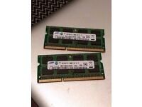 2x 2GB Samsung RAM Sticks - 1Rx8 PC3-10600S [Used in 2010 Macbook Pro]