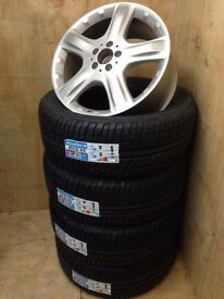 """MERCEDES ML GENUINE 19"""" ALLOY WHEELS FULLY REFURBISHED with BRAND NEW ALL SEASON M+S TYRES"""