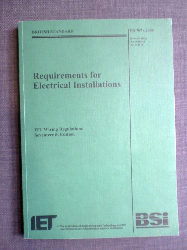 17th Edition Electrical Installations Iet Wiring Regulations Bs7671