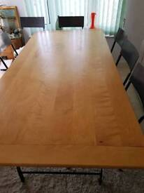 Dining table and 6 foldable chairs.