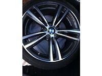 "Like new BMW Msport 19"" 3 & 4 series double spoke alloys with like new Bridgestone run flat tyres"