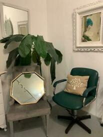 Green Leather Salon Swivel Chairs (4 available)
