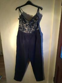 Navy and Cream Jumpsuit - Size 14