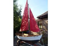 Traditional 15ft Shetland Sailing Skiff (Oughtred design) timber construction. Trailer & trolley