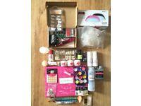 Gel Nails Manicure Pedicure Starter Kit Bundle UV Lamp File Drill Varnishes Brushes + More