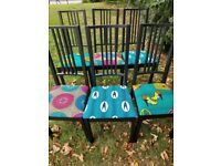 Up-cycled dining chairs.
