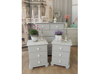 Shabby chic pair of pine bedside tables.