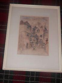 Bakehouse close Edinburgh signed 19th century chromolithograph