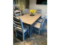 Shabby Chic Pine Farmhouse 6ft x 3ft Dining Table & 6 Chairs with Comfy Cushioned Seat Pads