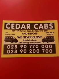CEDAR CABS TAXIS (HAVING PROBLEMS GETTING TAXI INSURANCE )