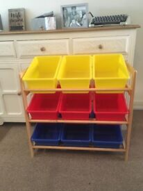 Toy storage unit with boxes