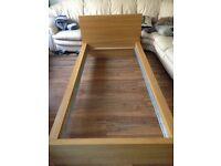 Ikea Oak effect single bed frame