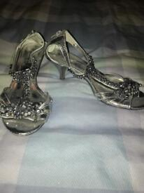 Ladies heeled sandals shoes. Silver. Size 5. Next