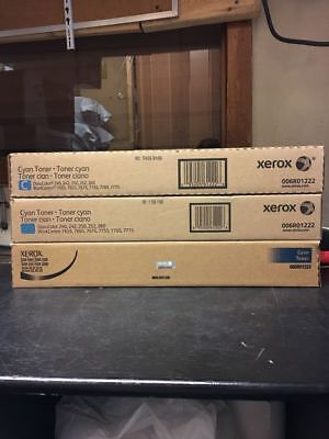Lot Of 3 Xerox 006r01222 Cyan Toner Cartridge 240 242 250 252 260 7655