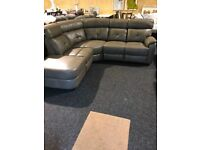 BRAND NEW LEATHER CORNER SUITE-Modern-One seat recliner