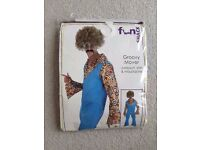 1970s Groovy Mover Disco Fancy Dress - Jumpsuit, shirt & moustache
