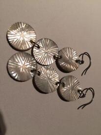 Seashell enamel union jack style silver earrings