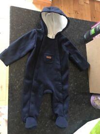 Junior J Baby boys 3-6 months navy fleece lined all in one pram suit