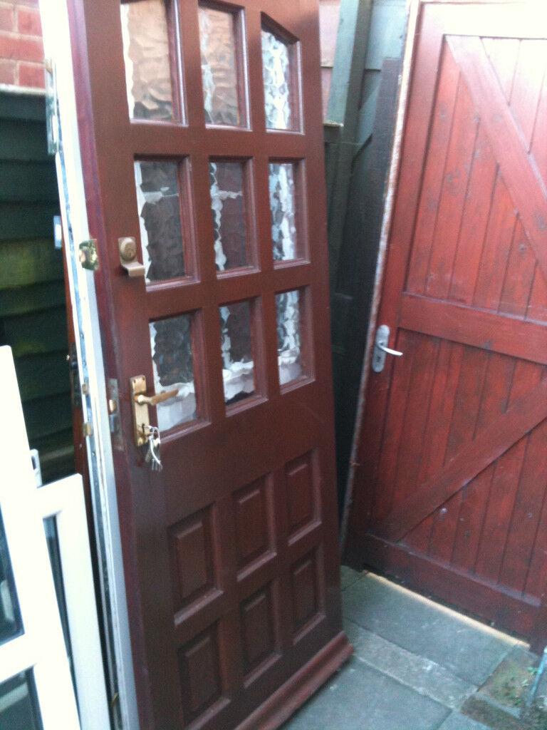 Exterior Hardwood Door With Crazed Glass Squares In Malvern