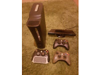 xbox 360 bundle, console, games, controllers, gaming chair, steering wheel and pedals.
