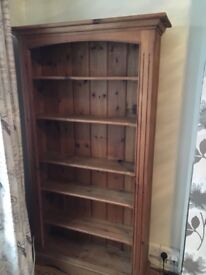 Rustic effect pine bookcase