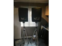 700w active PA , W Audio, 2 x 350w Active Speakers comes with Light Weight Stands