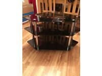 Black glass tv corner cabinet