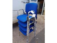 Blue office stacking chairs with arms never been used, offcie reception chairs, school chairs