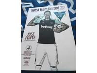 Signed programme by lanzini and ogbonna