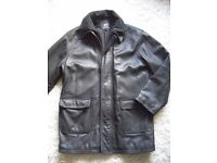"""MENS BLACK LEATHER JACKET BY PAUL BERMAN WITH QUILTED COTTON LINING 44"""" CHEST"""