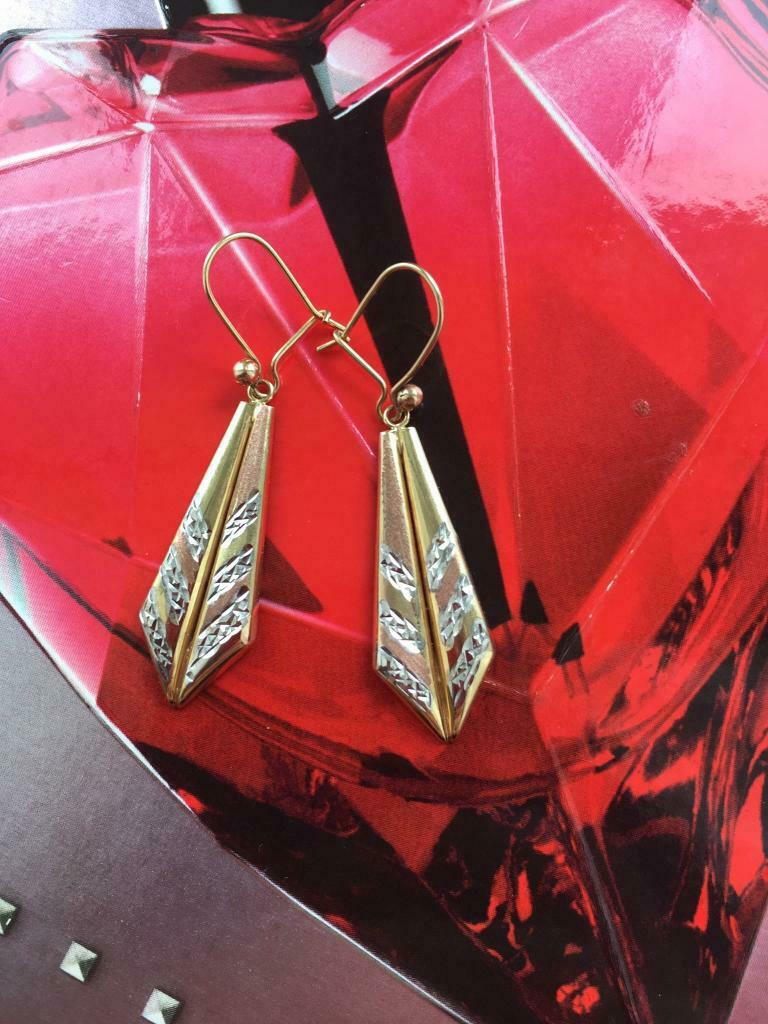4467394980a Modern 9ct 3 Colour Gold 4.5cm Geometric Feather Design Drop Earrings | in  Govan, Glasgow | Gumtree