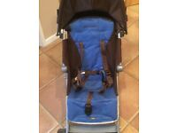 Maclaren quest chocolate and blue stroller pushchair buggy