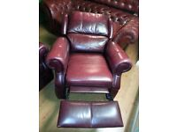 Lovely cherry leather high quality recliner chair. excellent condition.