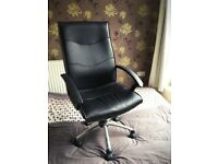 Black High-Back Office Chair, Faux-Leather, Adjustable Height and Tilt