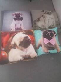 3 pug cushions and canvas