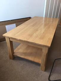 Solid wood rectangular coffee table with shelf