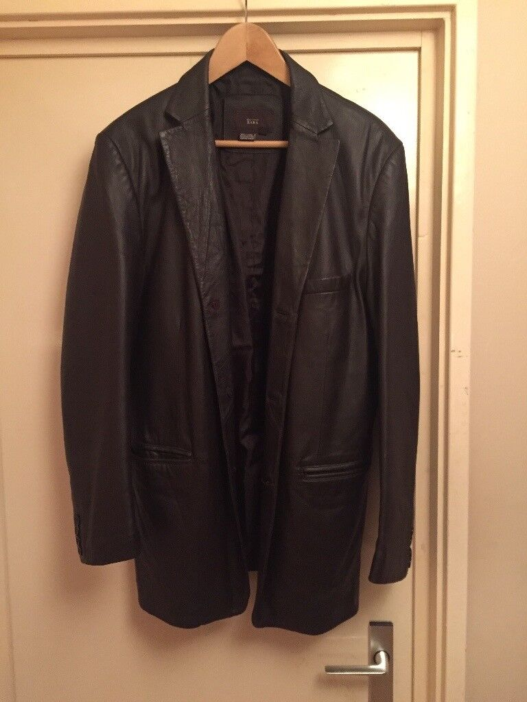Mens Brown Real 100 Leather Jacket From Zara Size Large In