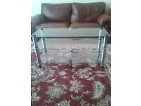 CLEAR TEMPERED GLASS COFFEE TABLE/TV STAND,CAN DELIVER