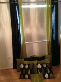 Black and Lime Green Curtain panels and matching cushions - Ex Cond