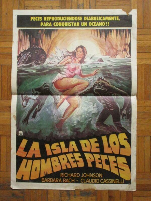 ISLAND OF FISHMEN Horror BARBARA BACH Monster SCREAMERS BEAUTIFUL ART MXN POSTER