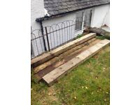 2.4metre wooden sleepers available for immediate collection. Sleepers are located in bridge of weir