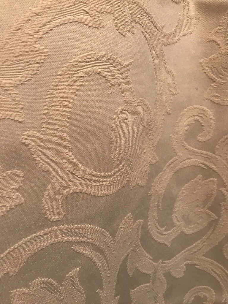 2 Pairs Of Natural/Cream Classic Jacquard Lined Curtains