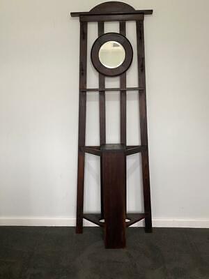c.1920 Art Deco Solid Blackwood Ebonized Hallstand Bevelled Edge Mirror Original